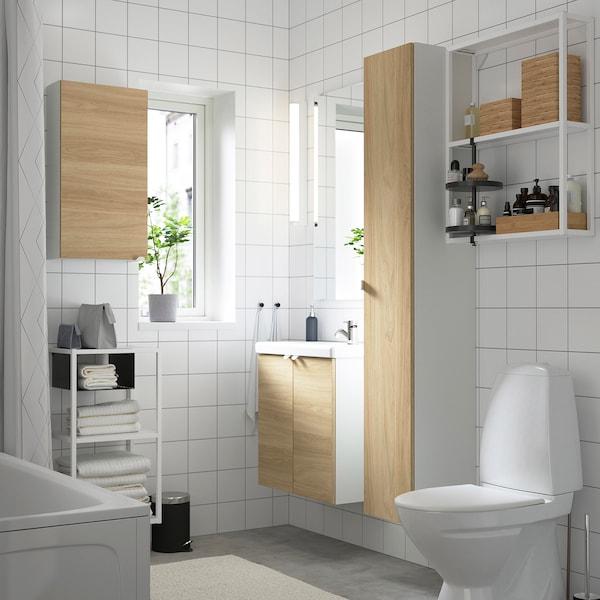 ENHET / TVÄLLEN Badeinrichtung 13-tlg., Eichenachbildung/weiß PILKÅN Mischbatterie, 64x33x65 cm