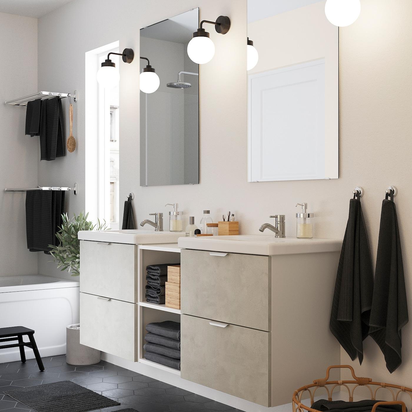 ENHET / TVÄLLEN Badezimmer Set 20 tlg.   Betonmuster/weiß PILKÅN  Mischbatterie 20x20x20 cm