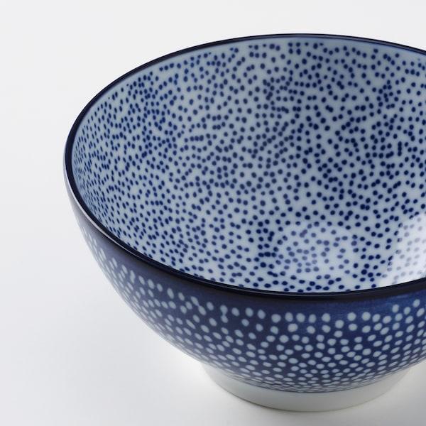 ENTUSIASM Schüssel, gemustert/blau, 12 cm