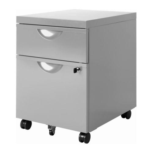 Rollcontainer ikea  IKEA ERIK Rollcontainer mit 2 Schubladen - silberfarben 0,00 ...