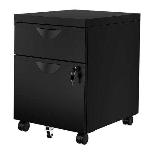erik rollcontainer mit 2 schubladen schwarz ikea. Black Bedroom Furniture Sets. Home Design Ideas