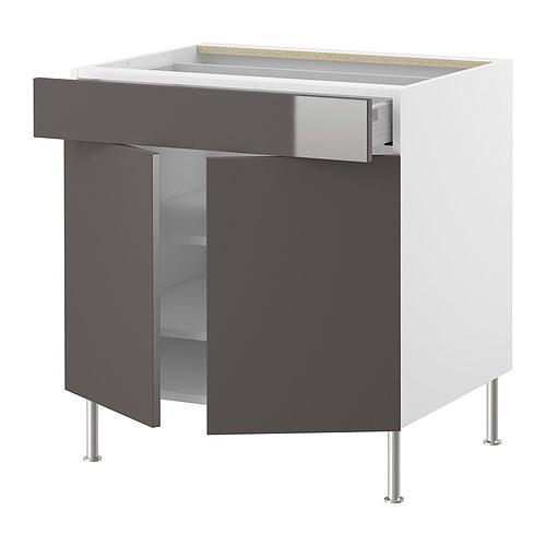 Ikea Faktum Jalousieschrank ~ IKEA  FAKTUM, Unterschr m Einlbod Schub 2Türen, Abstrakt grau, 80 cm