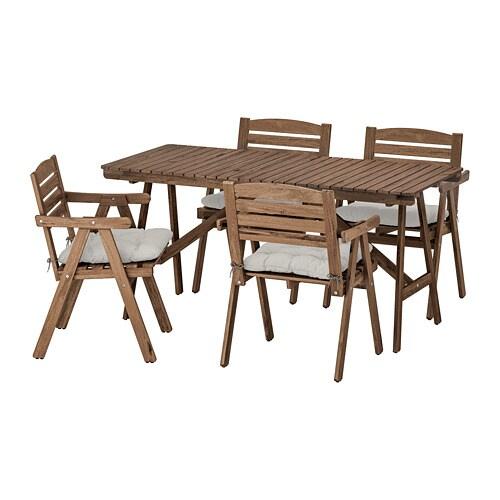 Falholmen Tisch 4 Armlehnstuhle Aussen Falholmen Graubraun Kuddarna