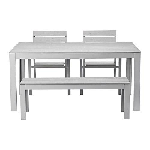 falster tisch 2 st hle bank au en grau ikea. Black Bedroom Furniture Sets. Home Design Ideas