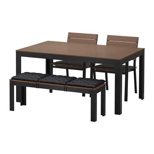 falster tisch 2 st hle bank au en falster schwarzbraun h ll schwarz ikea. Black Bedroom Furniture Sets. Home Design Ideas