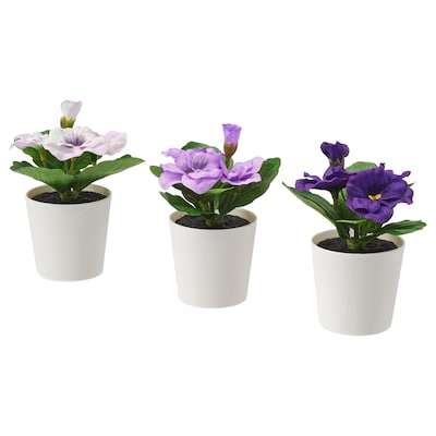 FEJKA Topfpflanze, künstlich/mit Topf drinnen/draußen Stiefmütterchen 12 cm 6 cm 3 Stück