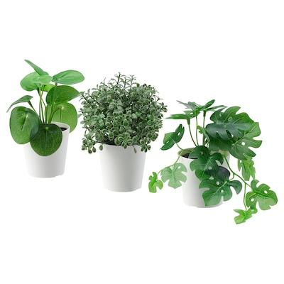 FEJKA Topfpflanze, künstl/+Topf 3er-Set, drinnen/draußen grün, 6 cm