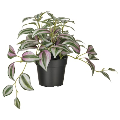 FEJKA Topfpflanze, künstlich, drinnen/draußen Dreimasterblume, 9 cm