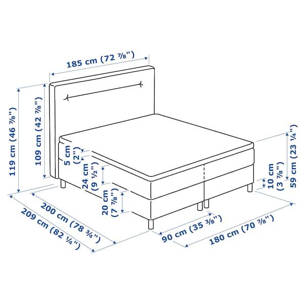FINNSNES Boxspringbett, Hövåg fest/mittelfest/Tuddal blau, 180x200 cm