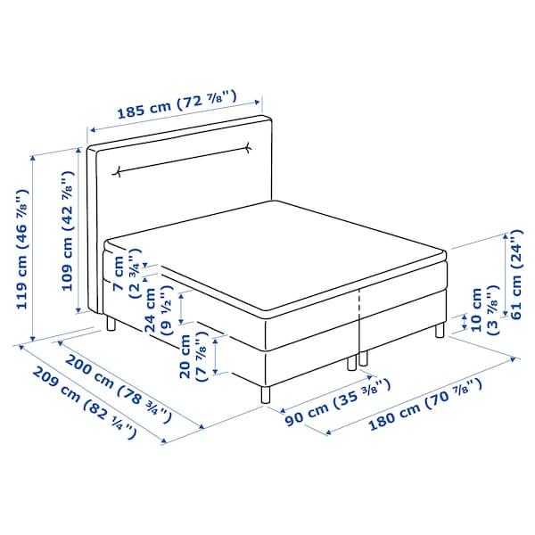 FINNSNES Boxspringbett, Hövåg fest/Tussöy blau, 180x200 cm
