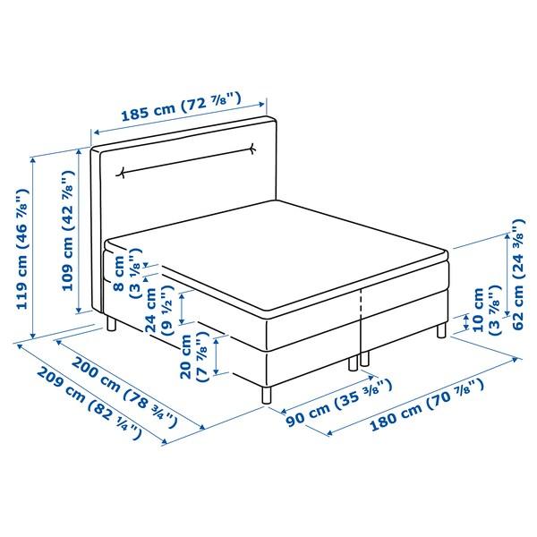 FINNSNES Boxspringbett, Hövåg fest/Tustna blau, 180x200 cm