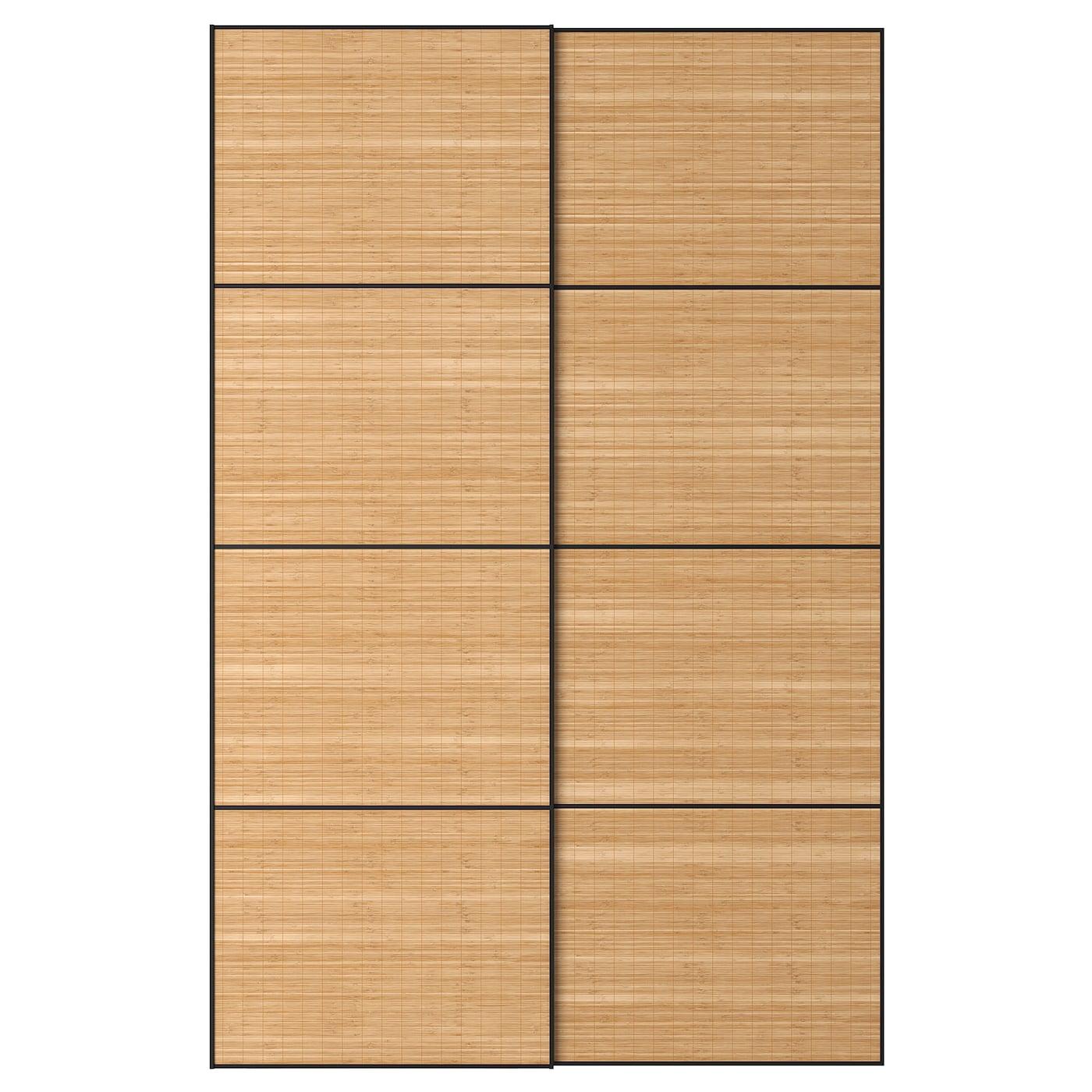 FJELLHAMAR, Schiebetürpaar, Bambus dunkel, 892.440.28