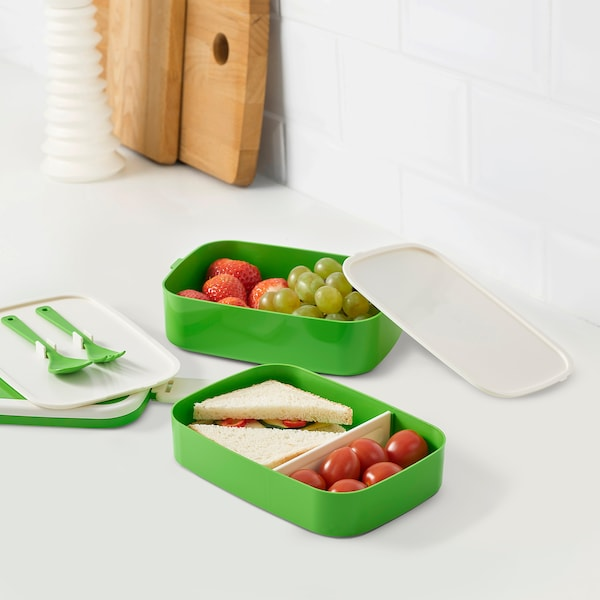 FLOTTIG Lunchbox grün/weiß 21 cm 13 cm 10 cm