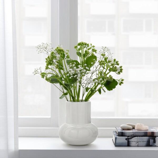 FNITTRIG Vase, weiß, 17 cm