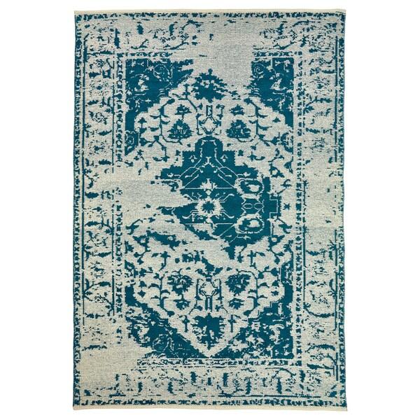 Teppich flach gewebt FOVSING blau, beige
