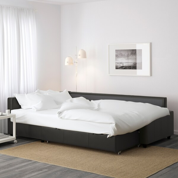 FRIHETEN Eckbettsofa mit Bettkasten, Bomstad schwarz