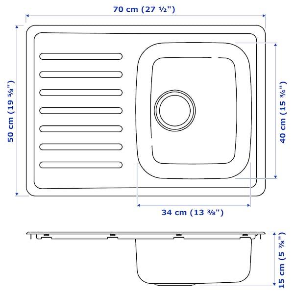 FYNDIG Einbauspüle, 1 Becken/Abtropffläche Edelstahl 15 cm 34 cm 40 cm 48 cm 68 cm 50 cm 70 cm 50 cm 20.4 l