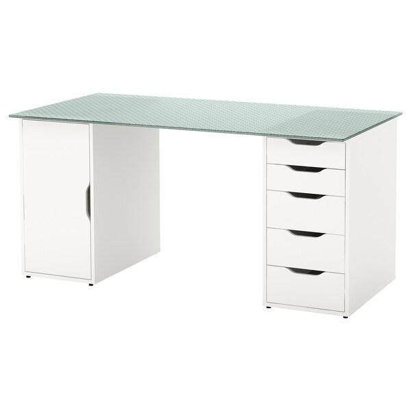 GLASHOLM / ALEX Tisch Glas/Wabenmuster weiß 148 cm 73 cm 71 cm 50 kg