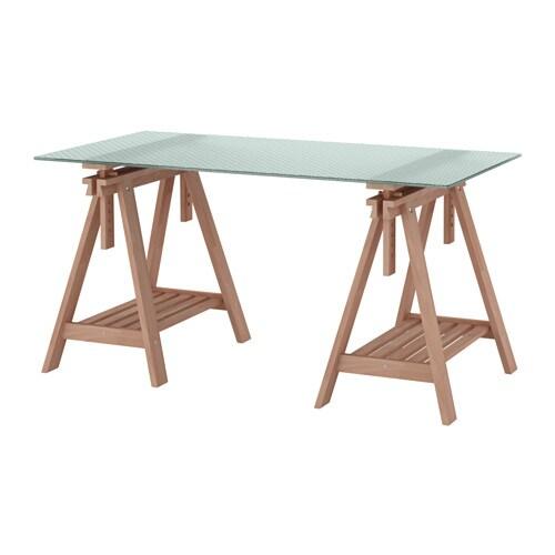 Glasholm finnvard tisch glas wabenmuster buche ikea for Ikea tisch glas