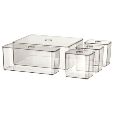 GODMORGON Kasten mit Deckel 5er-Set rauchfarben 24 cm 20 cm 10 cm