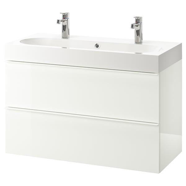 GODMORGON / BRÅVIKEN Waschbeckenschrank/2 Schubl., Hochglanz weiß/BROGRUND Mischbatterie, 100x48x68 cm