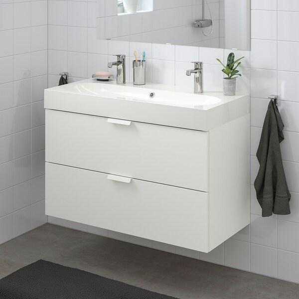 GODMORGON / BRÅVIKEN Waschbeckenschrank/2 Schubl., weiß/BROGRUND Mischbatterie, 100x48x68 cm