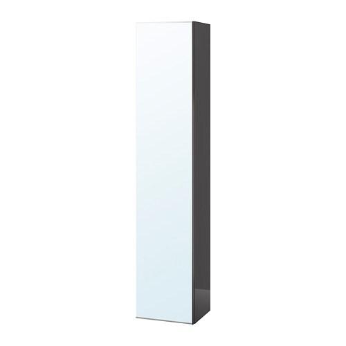 GODMORGON Hochschrank mit Spiegeltür - Hochglanz grau - IKEA