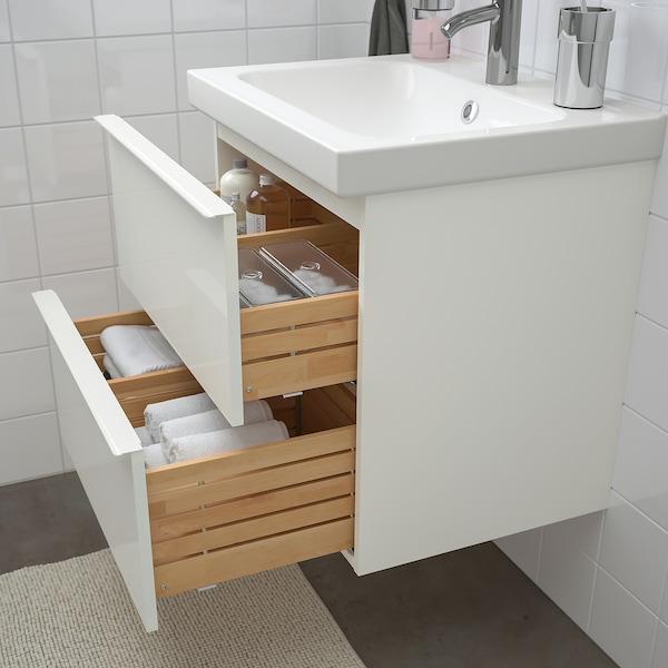 GODMORGON / ODENSVIK Badeinrichtung 4-tlg. Hochglanz weiß/DALSKÄR Mischbatterie 63 cm 60 cm 49 cm 89 cm
