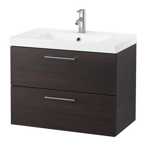 godmorgon odensvik waschbeckenschrank 2 schubl schwarzbraun ikea. Black Bedroom Furniture Sets. Home Design Ideas