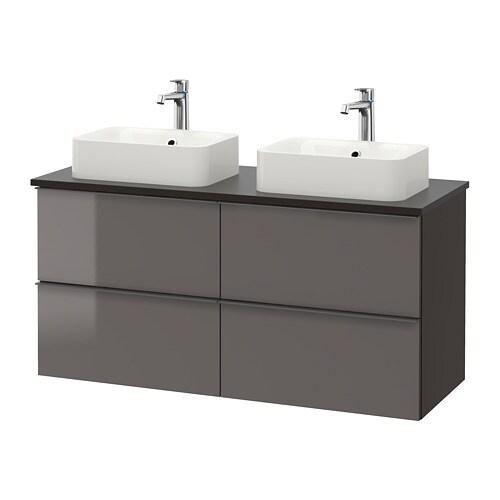 godmorgon tolken h rvik waschbeckenschr aufsatzwaschb 45x32 anthrazit hochglanz grau ikea. Black Bedroom Furniture Sets. Home Design Ideas