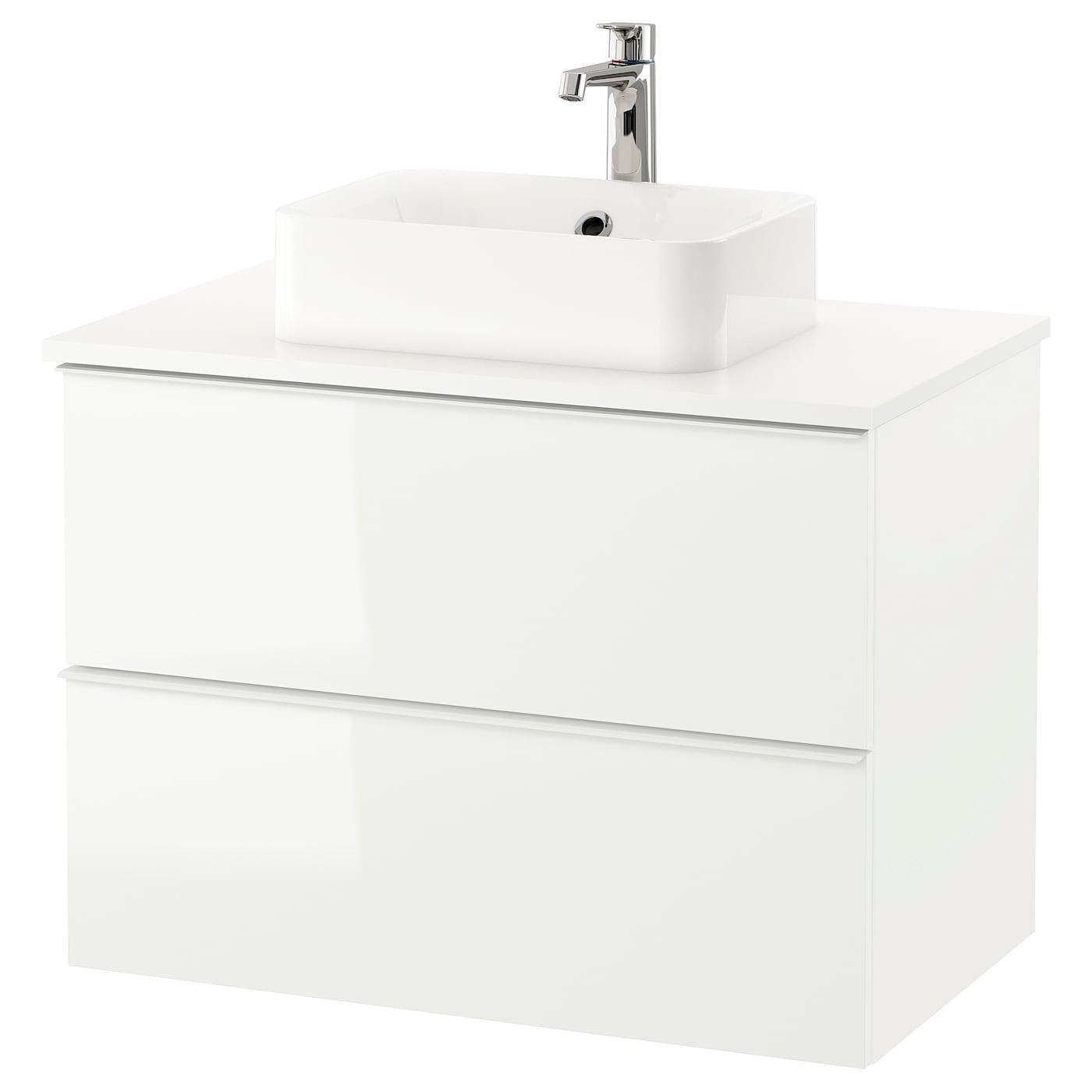 GODMORGON/TOLKEN / HÖRVIK, Waschbeckenschr+Aufsatzwaschb 45x32, Hochglanz weiß, weiß 292.795.63