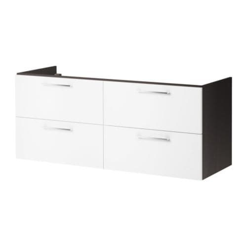 ikea godmorgon waschbeckenschrank 140cm 4schubladen schwarzbraun wei waschtisch ebay. Black Bedroom Furniture Sets. Home Design Ideas