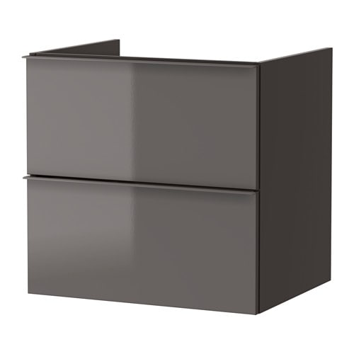 godmorgon waschbeckenschrank 2 schubl hochglanz grau 60x47x58 cm ikea. Black Bedroom Furniture Sets. Home Design Ideas