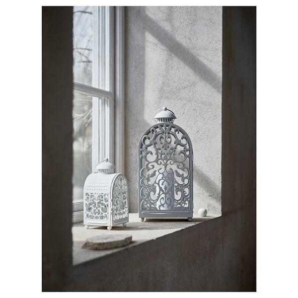 GOTTGÖRA Laterne f Teelicht, drinnen/draußen weiß, 26 cm