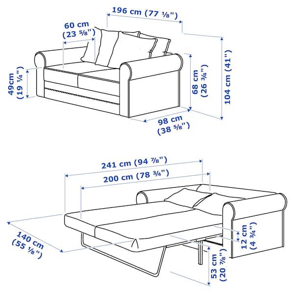 GRÖNLID 2er-Bettsofa Inseros weiß 53 cm 104 cm 68 cm 196 cm 98 cm 60 cm 49 cm 140 cm 200 cm 12 cm