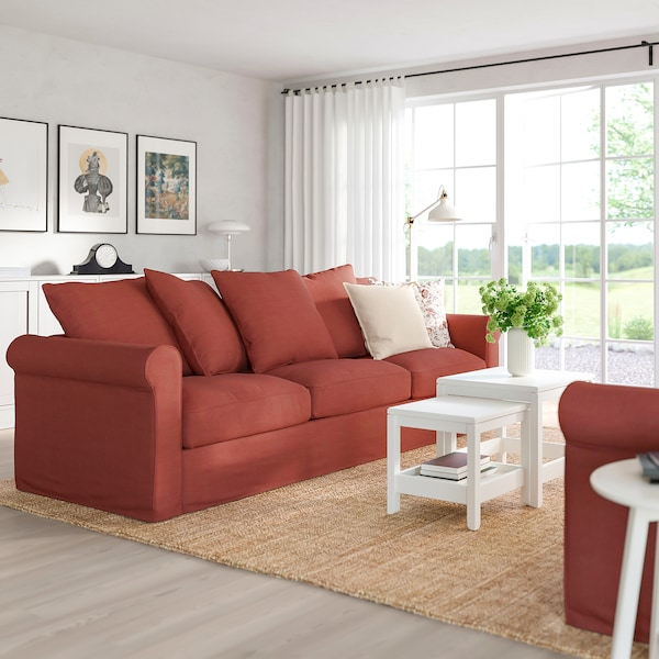 GRÖNLID 3er-Sofa, Ljungen hellrot