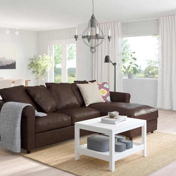 GRÖNLID 3er-Sofa, mit Récamiere/Kimstad dunkelbraun