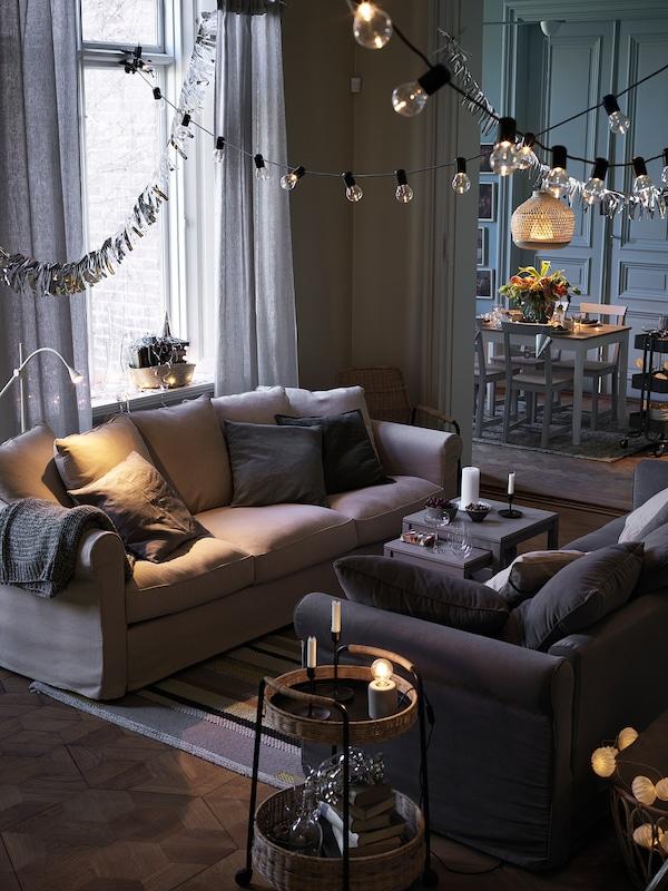 GRÖNLID 3er-Sofa, Sporda naturfarben