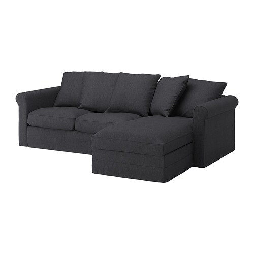 gr nlid 3er sofa mit r camiere sporda dunkelgrau ikea. Black Bedroom Furniture Sets. Home Design Ideas