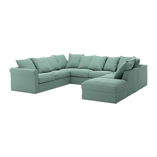 Gronlid Sofa U Form 6 Sitzig Ohne Abschluss Ljungen Hellgrun Ikea