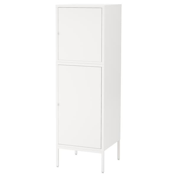 HÄLLAN Aufbewahrung mit Türen, weiß, 45x47x142 cm
