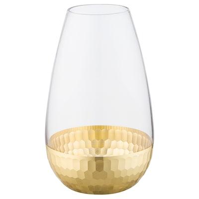 HÅGKOMST Vase, Glas/goldfarben, 21 cm