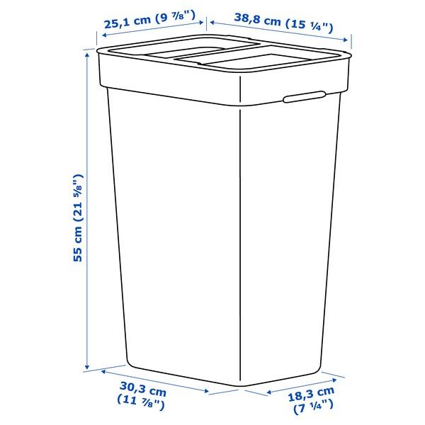 HÅLLBAR Behälter mit Deckel hellgrau 30.3 cm 18.3 cm 38.8 cm 25.1 cm 55.0 cm 35 l