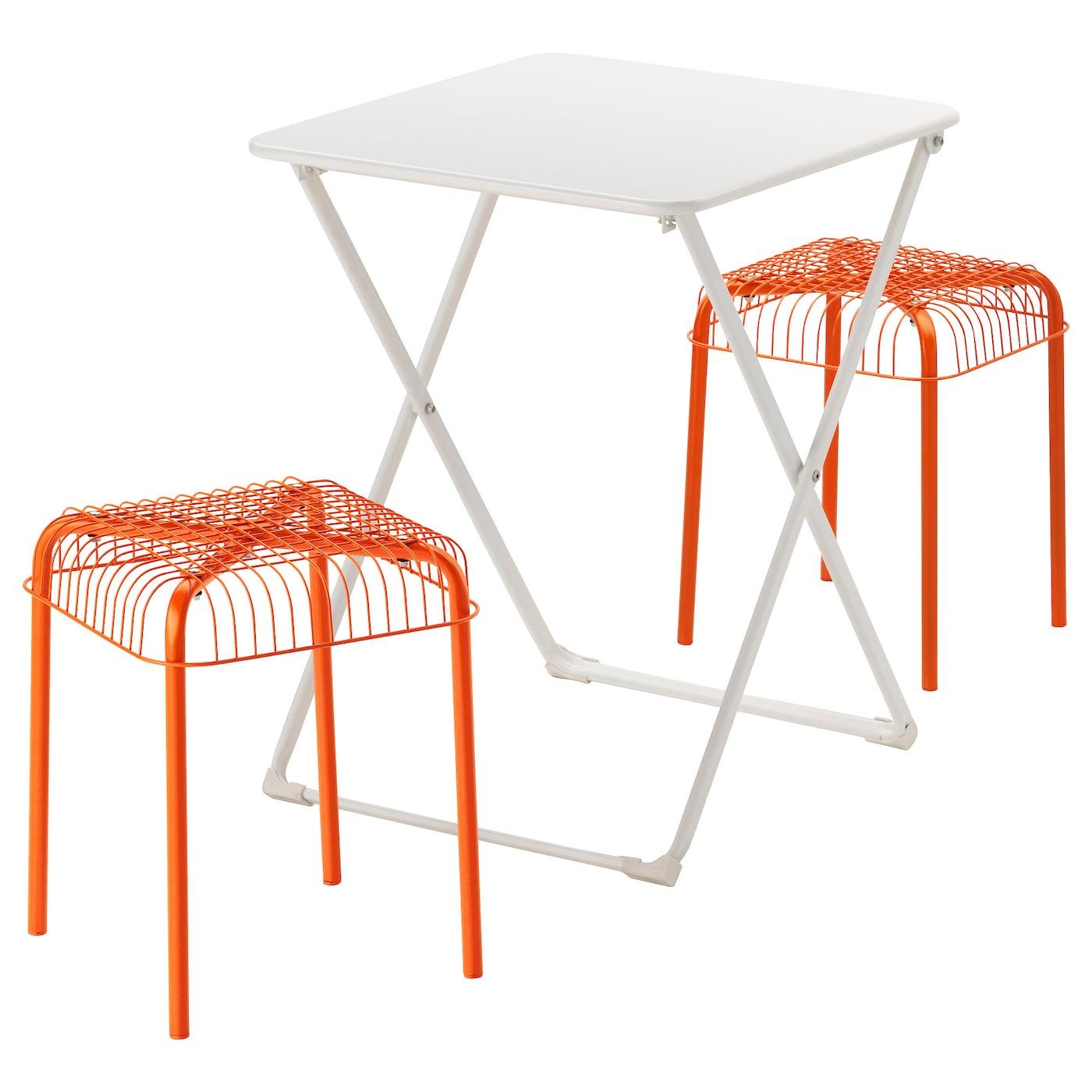 HÄRÖ / VÄSTERÖN, Tisch + 2 Hocker/außen, weiß, orange 391.331.84
