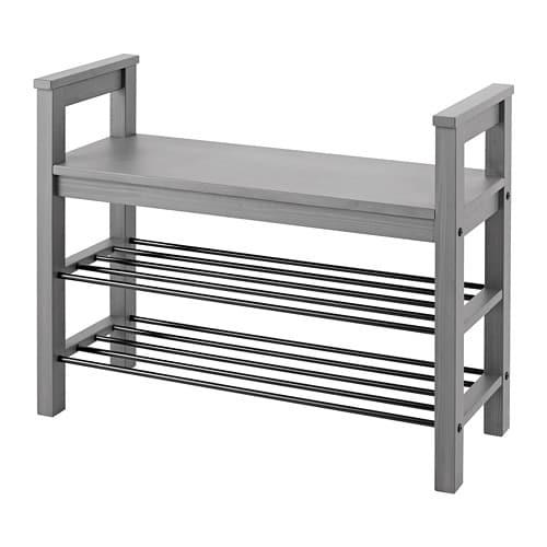 Hemnes Bank Mit Schuhablage Grau Lasiert Ikea