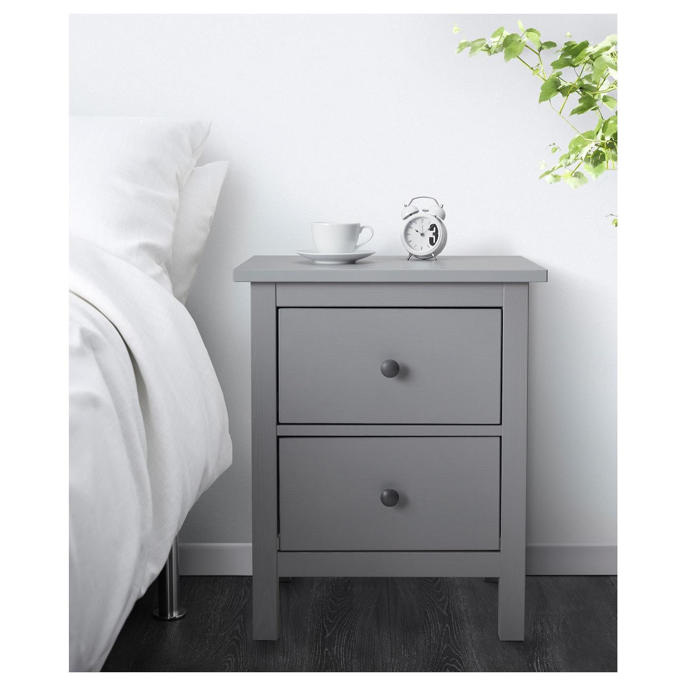 Ikea Hemnes Kommode Mit 2 Schubladen Grau Nachtkonsole Nachttisch Schrank Neu