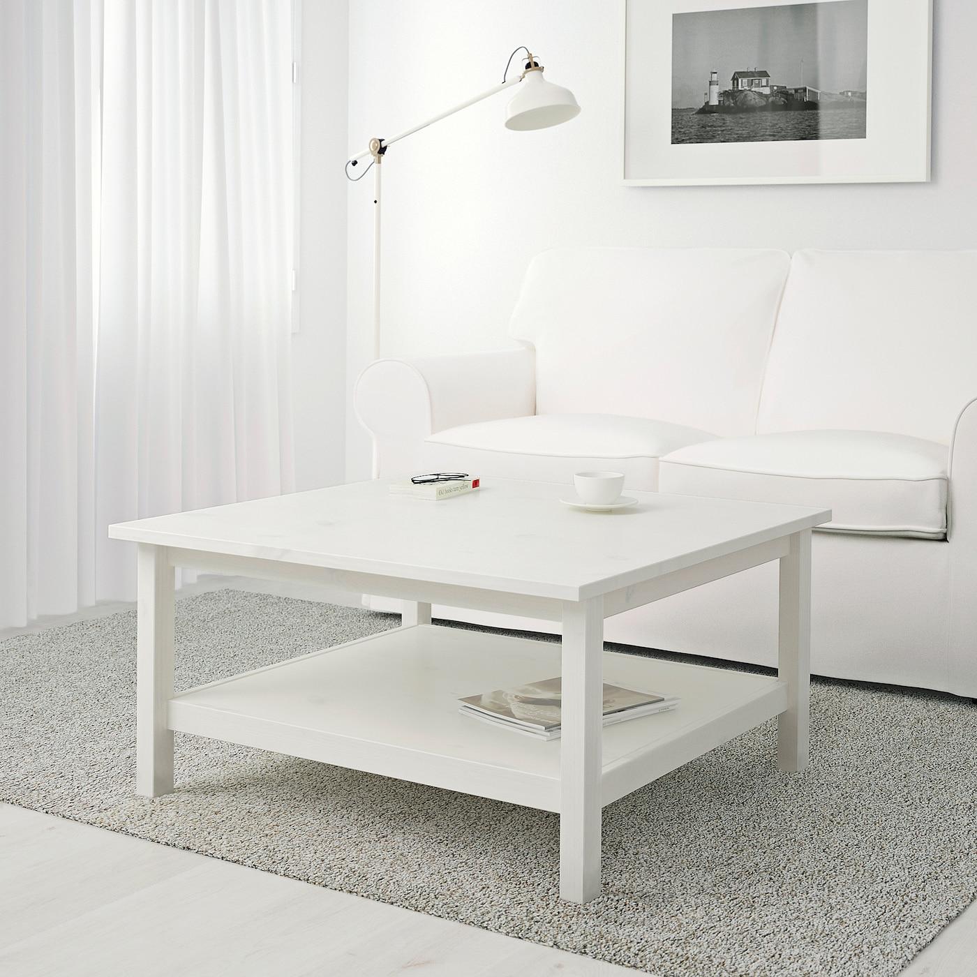 Großer Ikea Couchtisch weiß Hemnes mit Glasplatte