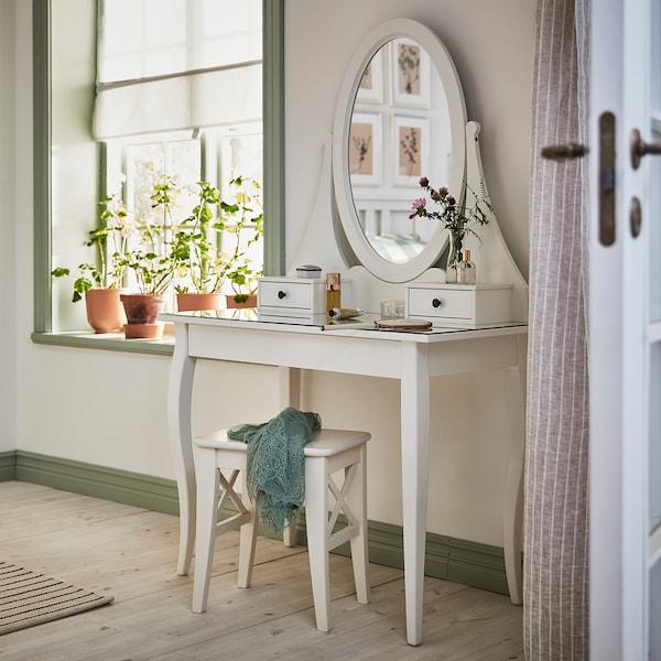 HEMNES Frisiertisch mit Spiegel, weiß, 100x50 cm