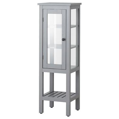 HEMNES Hochschrank mit Vitrinentür, grau, 42x38x131 cm
