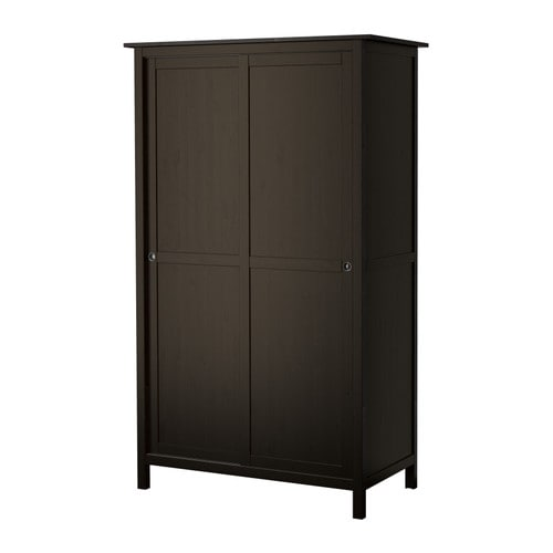 hemnes kleiderschrank mit 2 schiebet ren schwarzbraun ikea. Black Bedroom Furniture Sets. Home Design Ideas